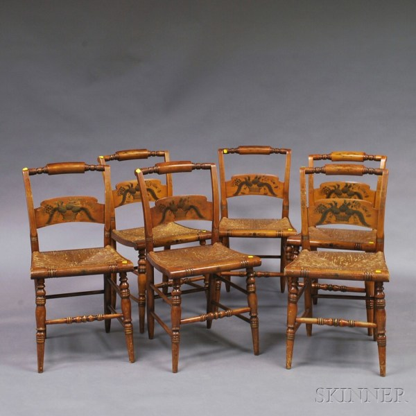 Set Of Six Paint-decorated Hitchcock Side Chairs