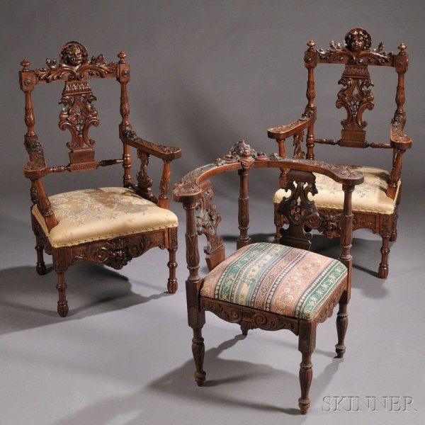Three Renaissance Revival Carved Chairs Number