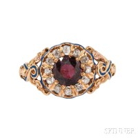 Antique Gold, Garnet, and Diamond Ring