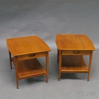 Pair of Heritage Henredon Mid-century Walnut One-drawer ...