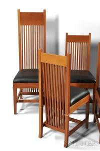 Eight Frank Lloyd Wright Robie House Dining Chairs by ...