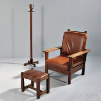 Oak Arts and Crafts Morris Chair, Ottoman, and Coat Rack ...