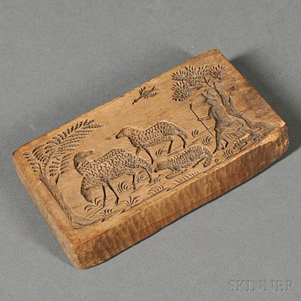 Sheep-carved Wooden Butter Mold Kalona Iowa