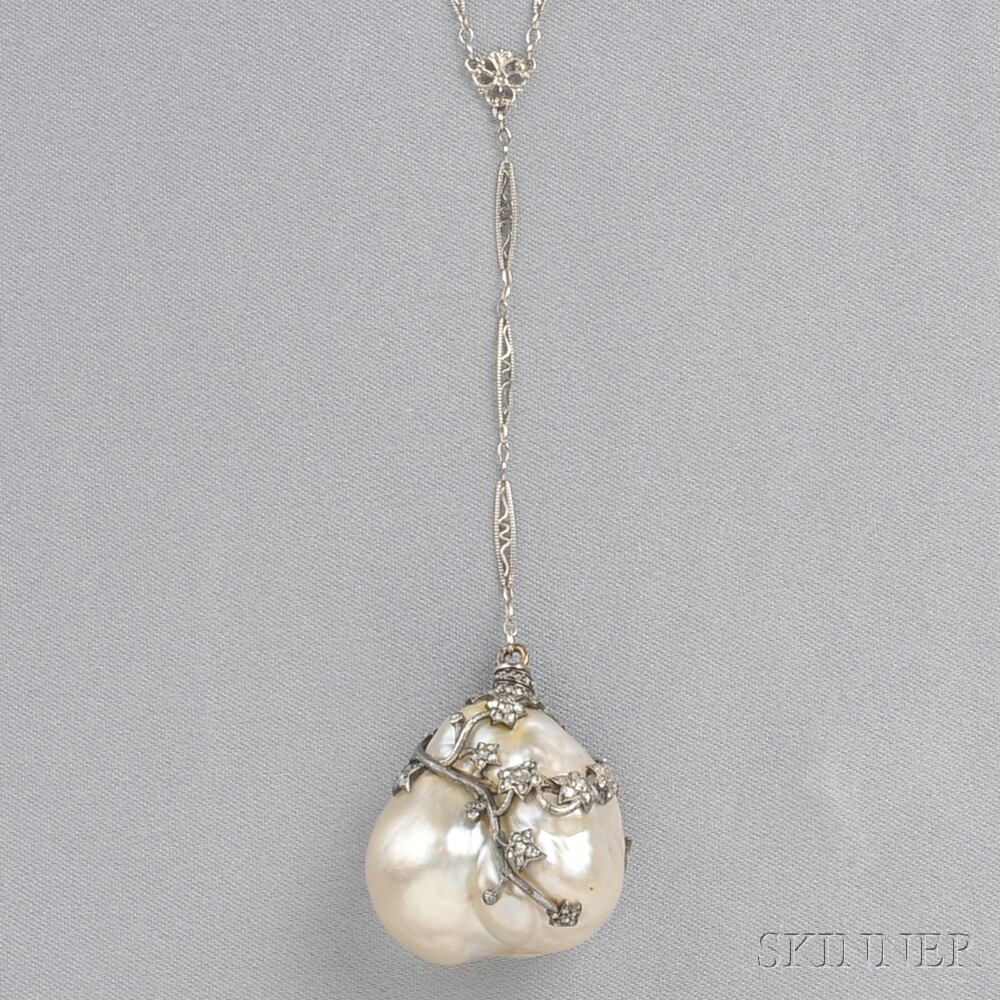 Antique Baroque Pearl And Diamond Pendant Sale Number 2641B Lot Number 179 Skinner Auctioneers