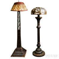 Persian Pierced Brass Floor Lamp and a Wicker Floor Lamp ...