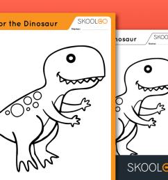 Color the Dinosaur - Free Worksheet for Kids by SKOOLGO.com [ 768 x 1024 Pixel ]