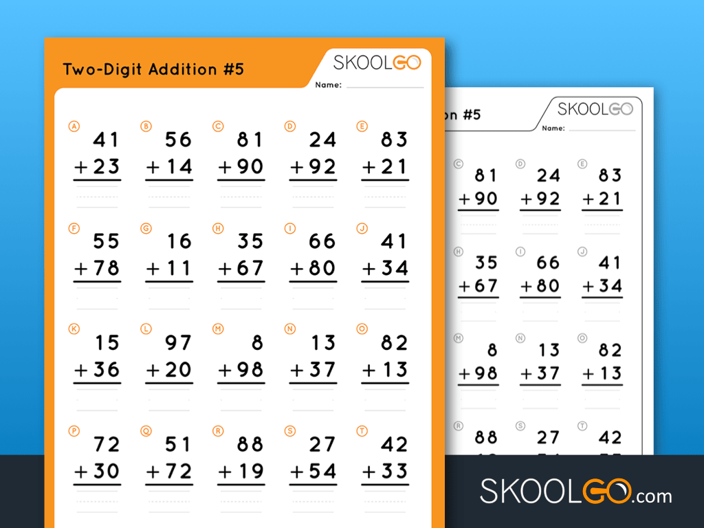 hight resolution of Two-Digit Addition #5 - Free Worksheet for Kids by SKOOLGO.com
