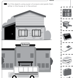 Cut and Paste - House and School Objects - Free Worksheet for Kids [ 3300 x 2551 Pixel ]