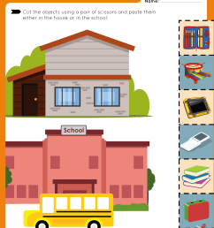 Cut and Paste - House and School Objects - Free Worksheet for Kids [ 3300 x 2550 Pixel ]