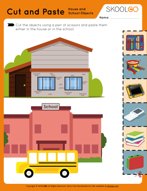 small resolution of Cut and Paste - House and School Objects - Free Worksheet for Kids