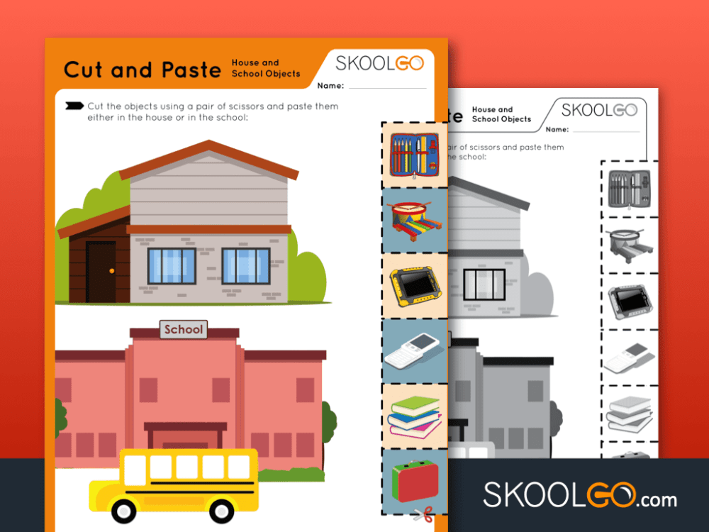 medium resolution of Cut and Paste - House and School Objects - Free Worksheet for Kids