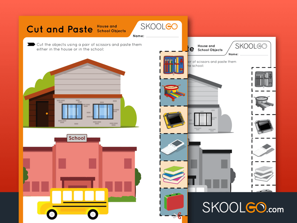 hight resolution of Cut and Paste - House and School Objects - Free Worksheet for Kids