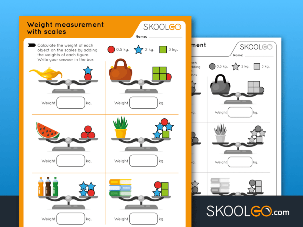 medium resolution of Weight Measurement with Scales - Free Worksheet for Kids by SKOOLGO