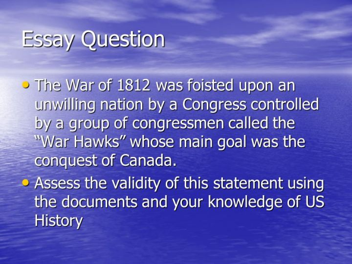 war 1812 essay The end of the war the war of 1812 ended in a stalemate the treaty of ghent signed on december 24, 1814 returned all territorial conquests made by the two sides.