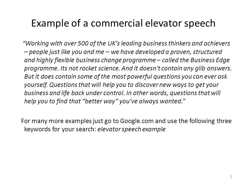 Writing An Elevator Speech Gruender Immobilien De