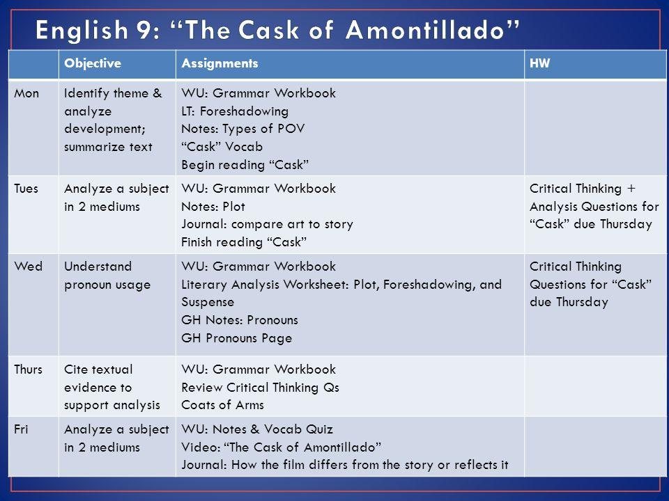 the cask of amontillado story diagram frog internal anatomy labeled week 2 objectiveassignmentshw monidentify