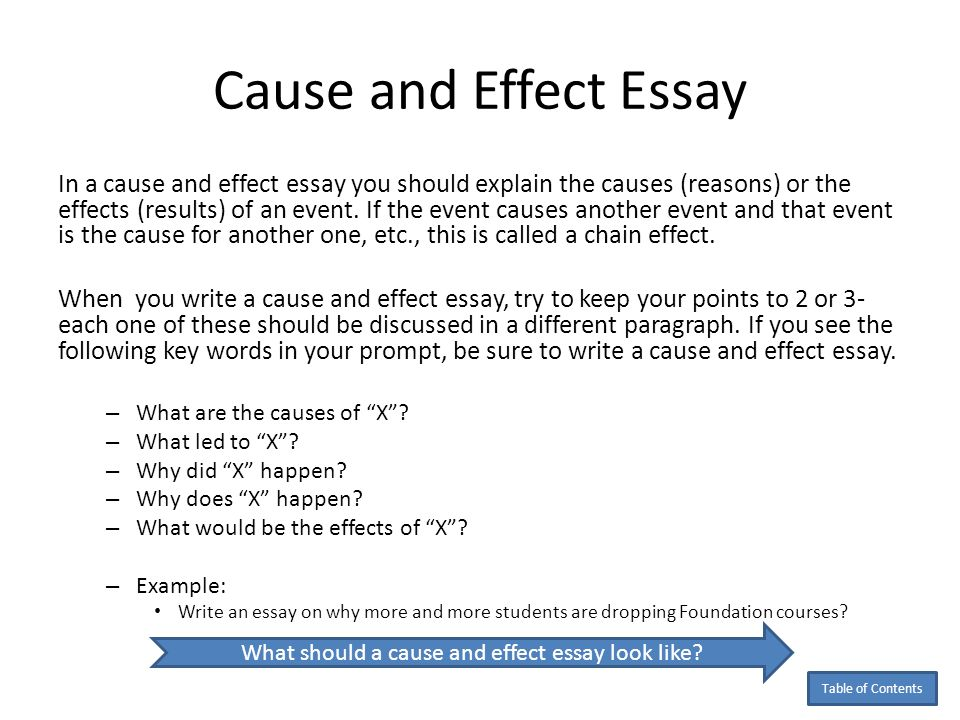 Cause And Effect Example Essays. Good Topics For Cause And Effect ...