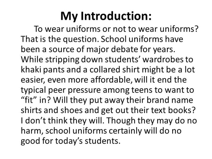 persuasive essay about school uniforms bad Should schools abolish examinations persuasive essay topics about animals why protecting a giant panda is critical zoos are worse than people should stop wearing fur & leather clothing good persuasive essay topics for high school pros and cons of wearing a school uniform.