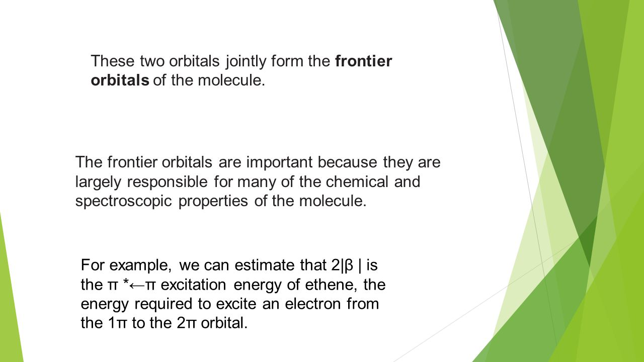 hight resolution of these two orbitals jointly form the frontier orbitals of the molecule