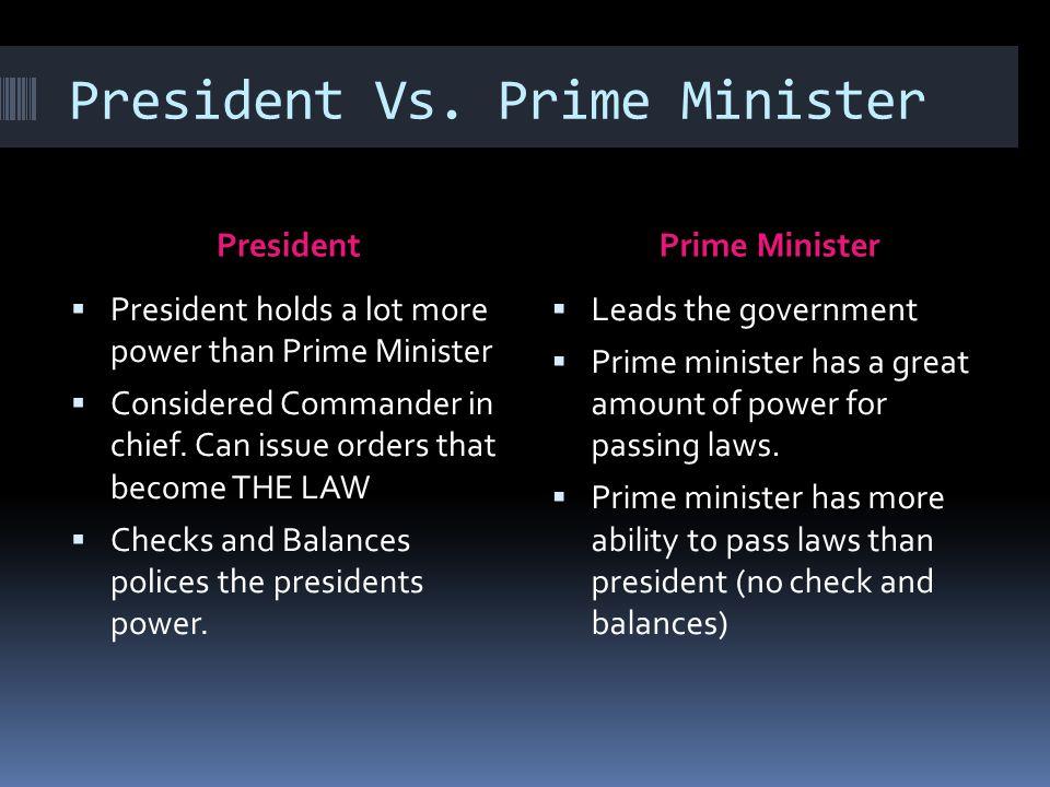 Image result for president vs prime minister