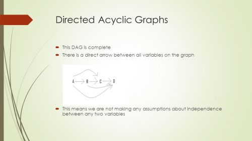 small resolution of 5 directed acyclic graphs this dag is complete there is a direct arrow between all variables on the graph this means we are not making any