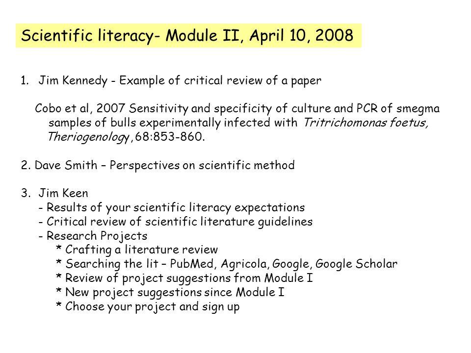 Scientific Literacy Module II April 10 Jim Kennedy Example Of