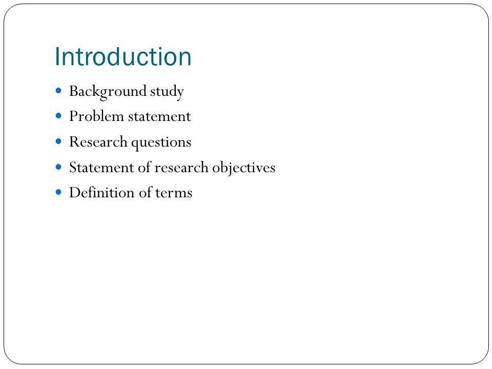 context of the problem in a research paper