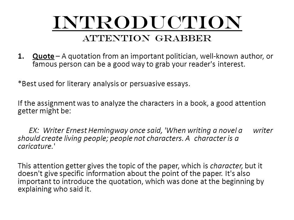 Grabber Essay Essay Hook How To Write An Essay Hook Sentences