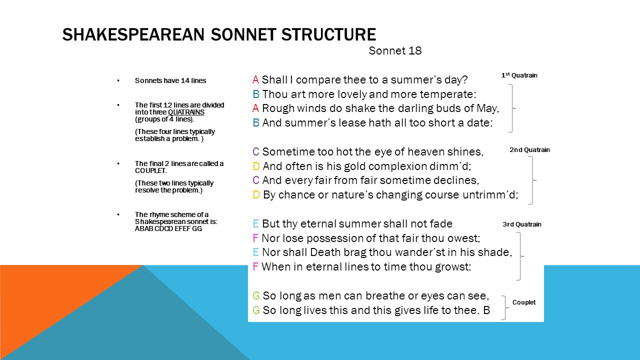 Image result for shakespearean sonnet structure