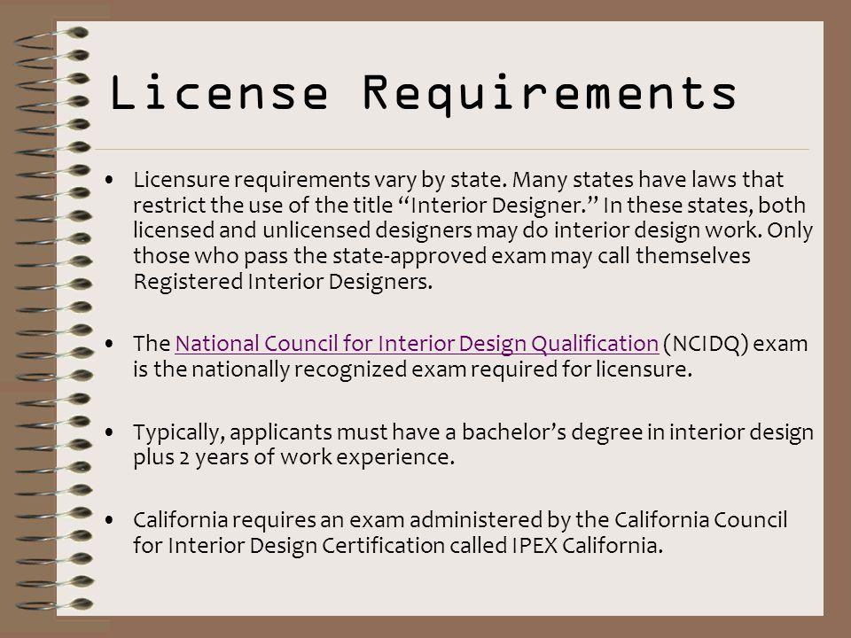 Interior design license requirements