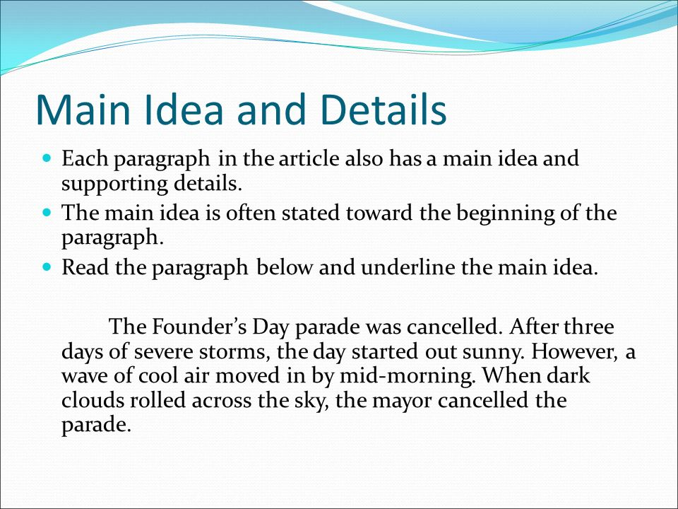Image result for getting the main idea in a paragraph
