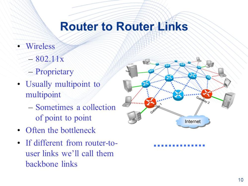 medium resolution of 10 10 router to router links wireless 802 11x proprietary usually multipoint to multipoint sometimes a collection of point to point often the bottleneck