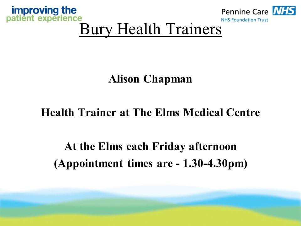 bury health trainers alison