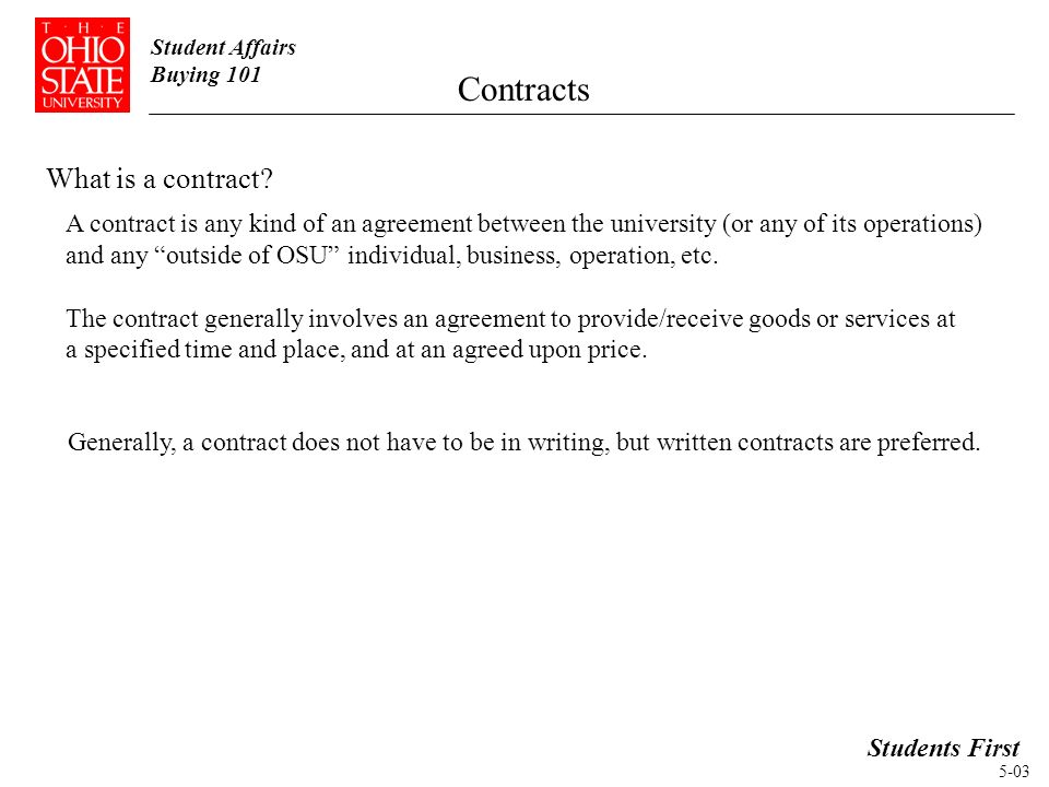 Student Affairs Buying 101 Contracts Students First Topic Buying ...