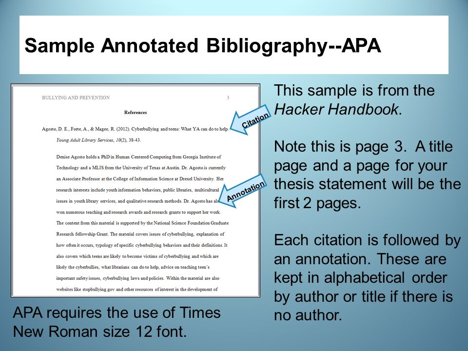 how to do an apa annotated bibliography