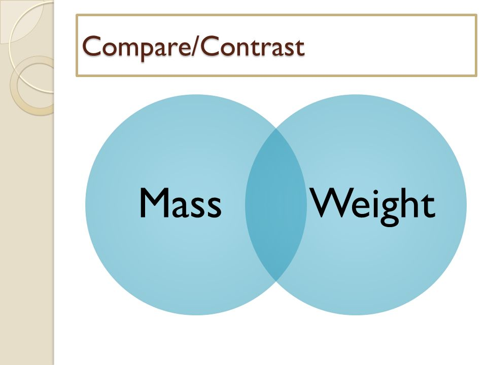 compare and contrast mass weight venn diagram project network critical path vs introduction to gravity opener april 1 2014 10 massweight