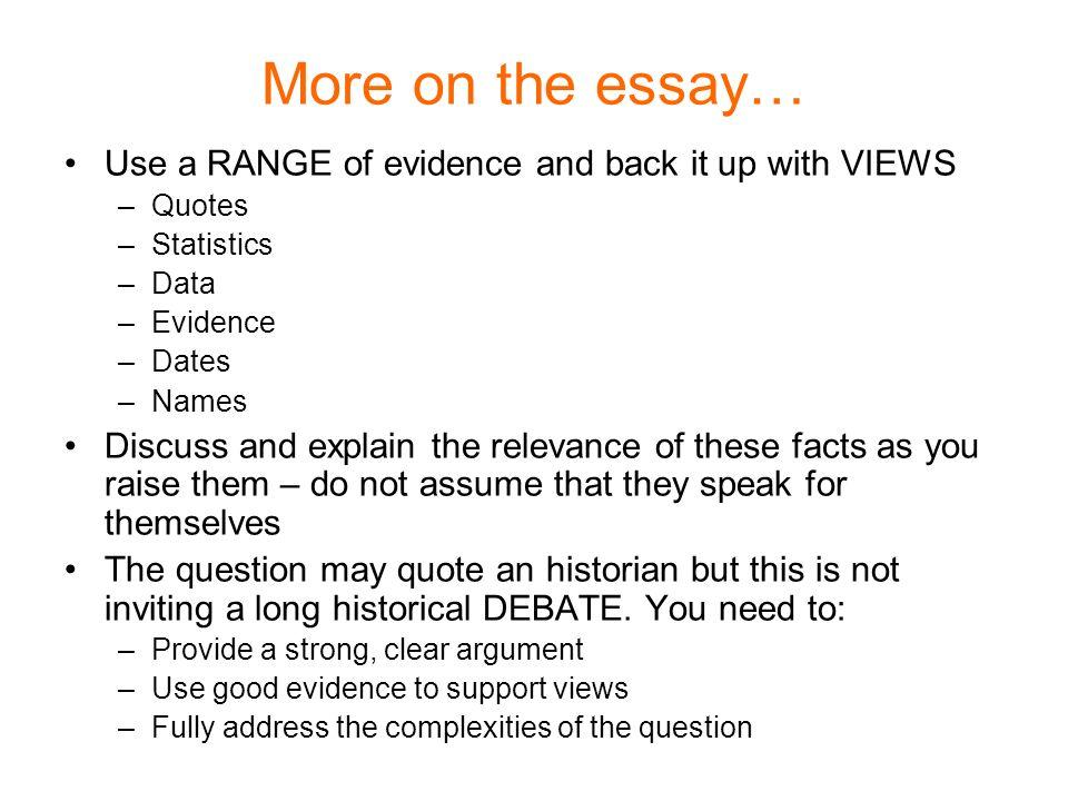 Essay question discuss