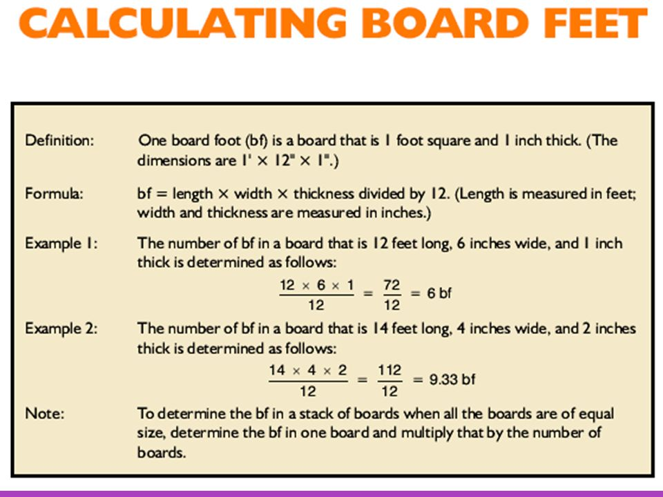 How To Calculate Board Feet To Square Feet