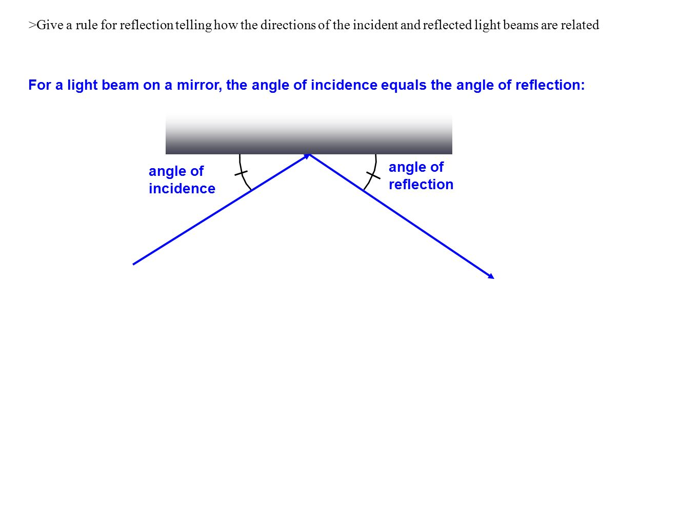 hight resolution of 2 give a rule for reflection telling how the directions of the incident and reflected light beams are related for a light beam on a mirror the angle of
