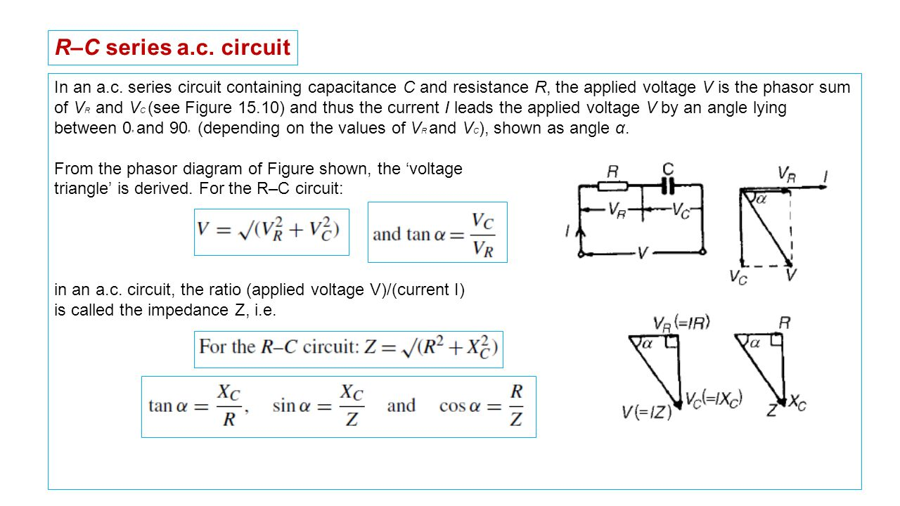 hight resolution of r c series a c circuit in an a c