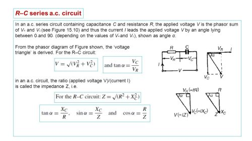 small resolution of r c series a c circuit in an a c