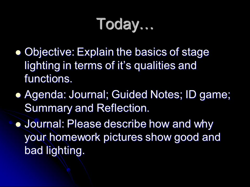lighting design 101 days 1 2 today