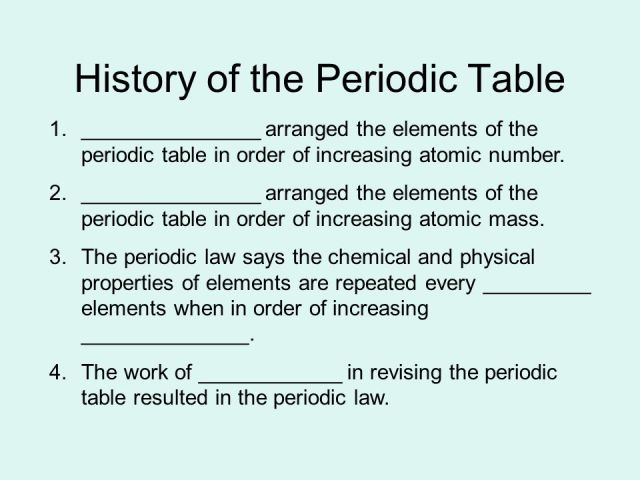 The periodic table is arranged by increasing atomic number history of the periodic table 1 arranged elements urtaz Images