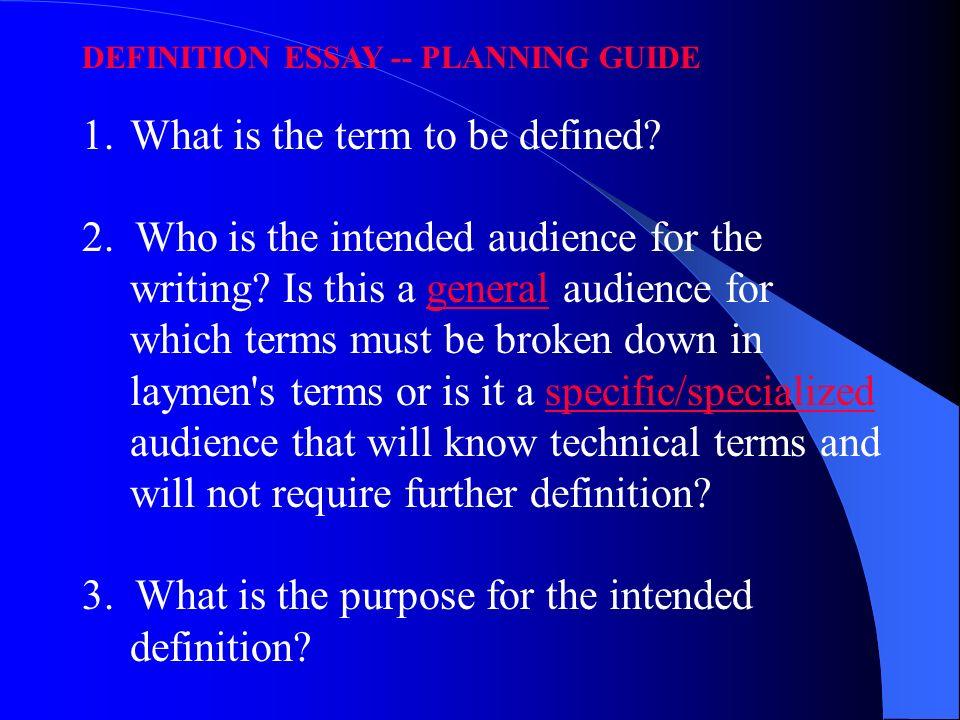 Definition essay outline sample