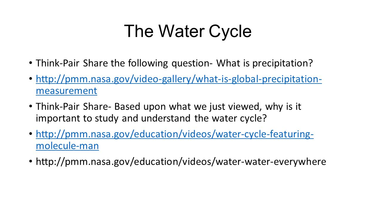 hight resolution of the water cycle think pair share the following question what is precipitation