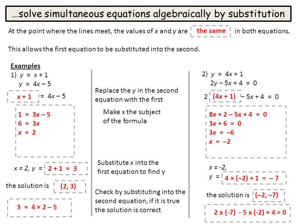 simultaneous equations applying algebraic