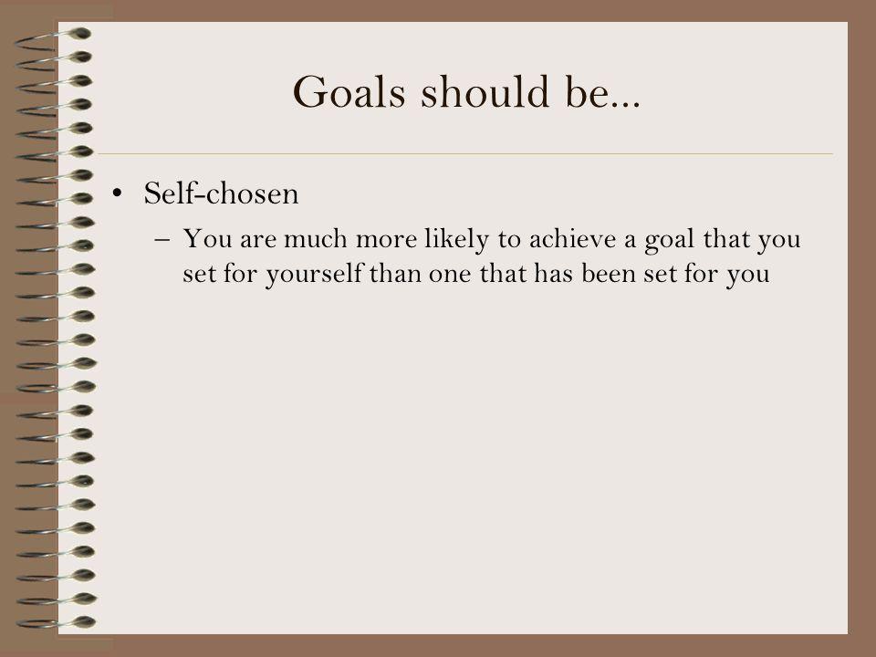 Image result for why should self chosen goals