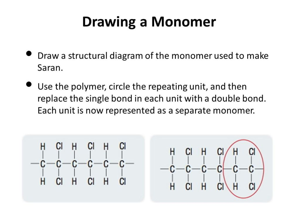 medium resolution of drawing a monomer draw a structural diagram of the monomer used to make saran