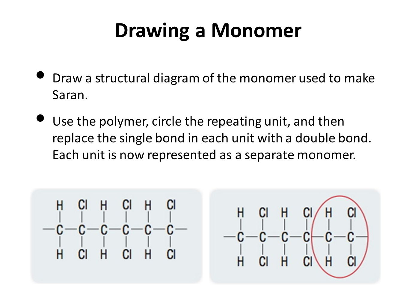 hight resolution of drawing a monomer draw a structural diagram of the monomer used to make saran