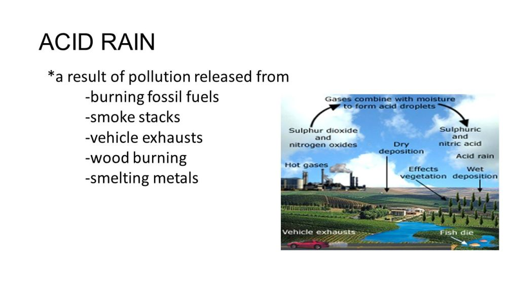 medium resolution of 4 acid rain a result of pollution released from burning fossil fuels smoke stacks vehicle exhausts wood burning smelting metals